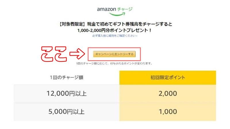 Amazonキャンペーンのエントリー画面