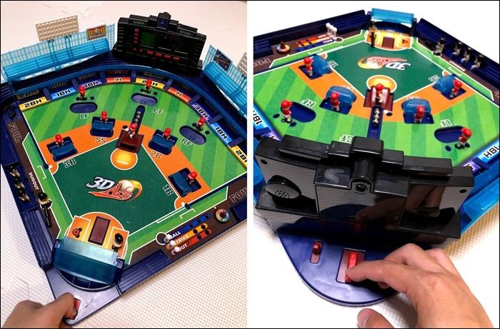 野球盤の攻撃側と守備側の操作