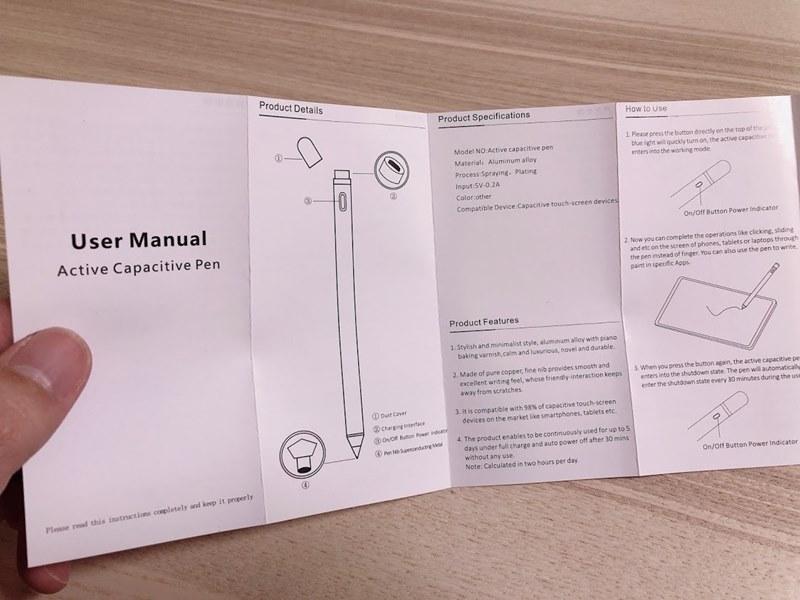 Amazonで購入したスタイラスペンの取扱説明書