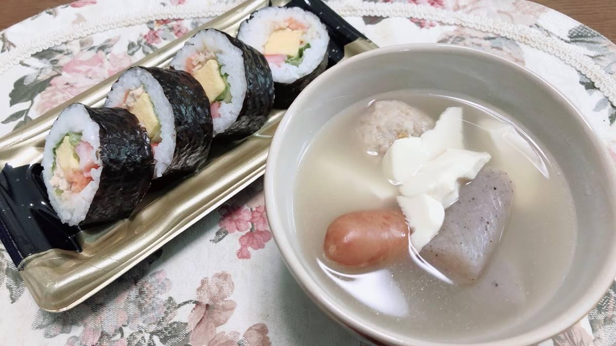 海苔巻き寿司とスープ