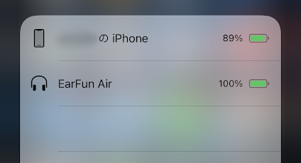 EarFun AirのバッテリーをiPhoneで確認した図
