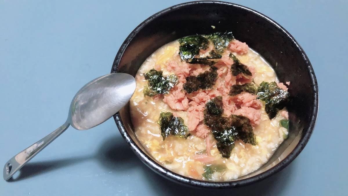 オートミールの海鮮チゲスープをアレンジ