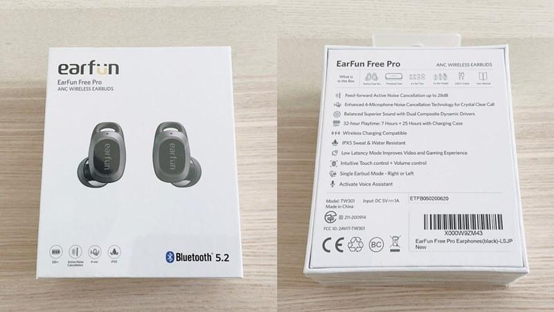 EarFun Free Proのパッケージの表と裏の画像