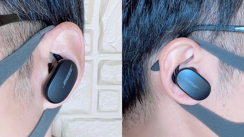 Bose QuietComfort Earbudsを装着した様子