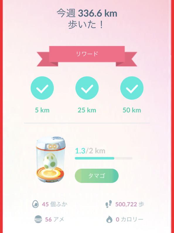 ポケモンGOの習慣リワードの画面